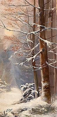 Aureli Tolosa Barcelona 1861 - 1938 Paisaje nevado Óleo sobre lienzo