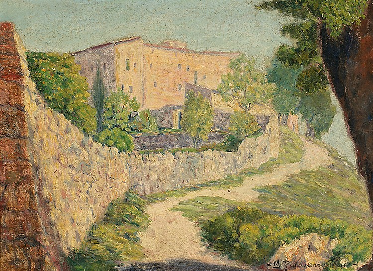 Marià Pidelaserra Barcelona 1877 - 1946 Rural View OIl on canvas stuck to wood Signed 23.3x31.5 cm
