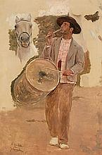 """Salvador Viniegra Cádiz 1862 - Madrid 1915 Tamborilero (estudio de figura para """"La romería del Rocío"""") Óleo sobre lienzo"""