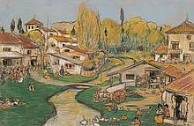 Ramón Pichot Gironés Barcelona 1872 - 1925 Vista rural Pastel sobre papel