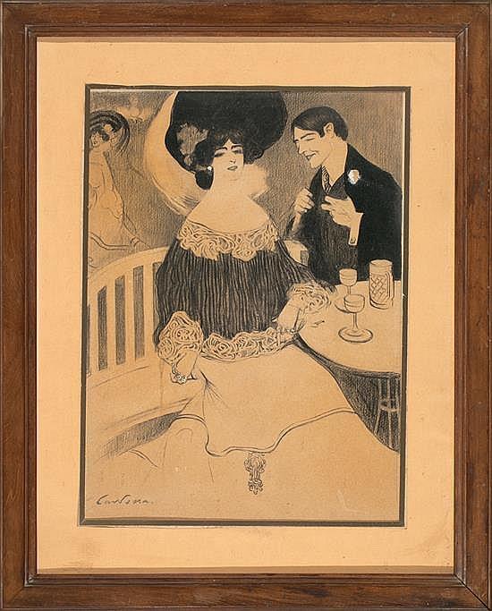 Joan Cardona Barcelona 1877 - 1957 Couple in a Paris café