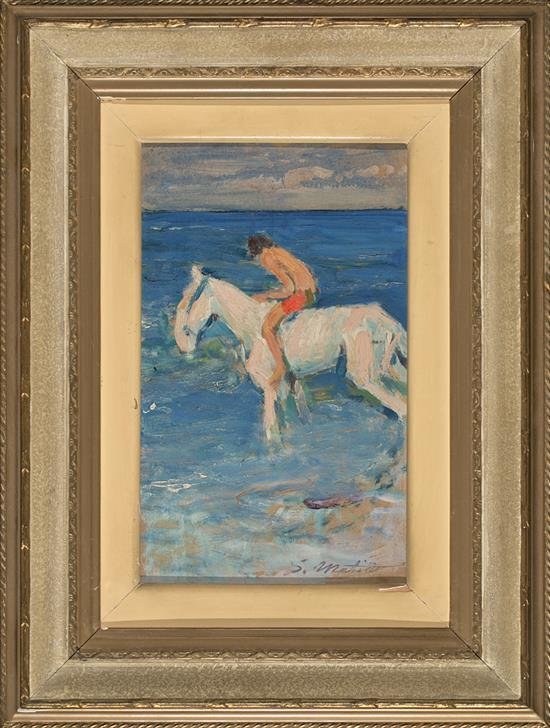 Segundo Matilla Madrid 1862 - Teià 1937 Boy riding a horse by the sea