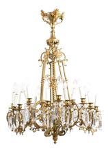 Lámpara de techo de gas en bronce dorado con lágrimas en cristal, de finales del siglo XIX