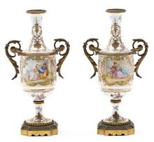 Pair of Fench gilt-bronze mounted vases in Sèvres-type porcelain, early 20th Century
