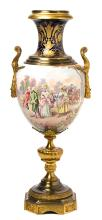 Large French gilt-bronze mounted vase in Sèvres porcelain, late 19th Century