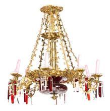 Lámpara de techo francesa en bronce dorado y cristal doblado en rojo rubí y tallado, de la segunda mitad del siglo XIX