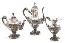 Juego de café portugués en plata, de 1886-1938