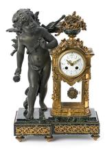 Table clock in gilt and blued bronze and marble, late 19th Century