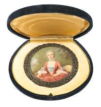 Escuela francesa de finales del siglo XIX Dama dieciochesca Retrato en miniatura al gouache