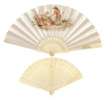 Two fans with ivory and bone sticks, late 19th-early 20th Century