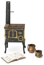 Cocina en miniatura en hierro, cobre y latón, hacia 1920