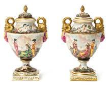Pair of Italian Capodimonte porcelain vases, early 20th Century