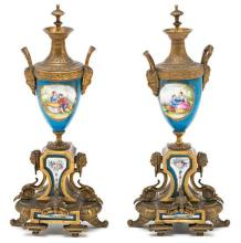 Pair of French Louis XVI-style, gilt-bronze mounted, Sèvres-type porcelain vases, late 19th Century