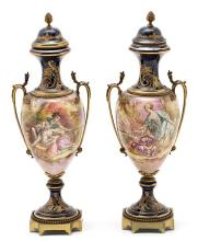 Pair of French gilt-bronze mounted vases in Sèvres-type