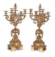 Pareja de candelabros franceses estilo Napoleón III en bronce dorado, de finales del siglo XIX