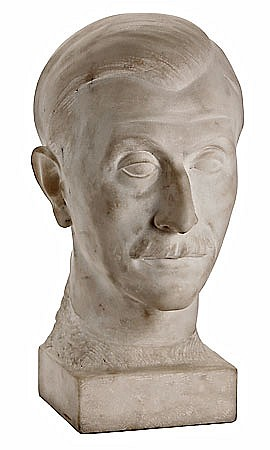 Josep Dunyach Barcelona 1886 - 1957 Retrato del pintor Ricard Canals Busto en mármol