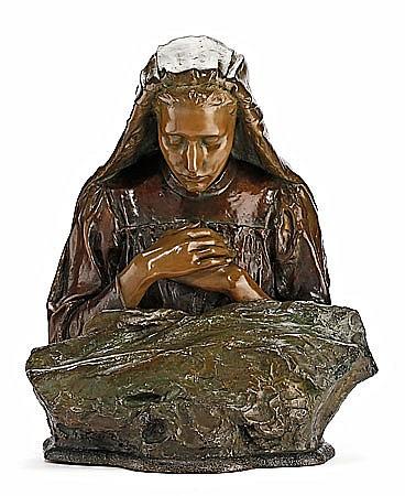 Josep Llimona Bruguera Barcelona 1864 - 1934 Niña recibiendo la primera comunión Escultura en estuco con pátina de bronce