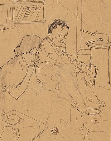 Xavier Gosé Lleida 1876 - 1915 Pareja Dibujo a lápiz sobre papel