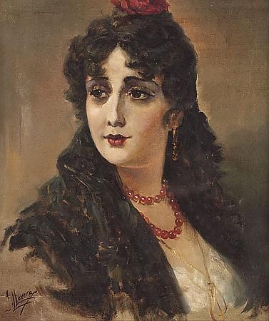 José Llovera Bofill Reus 1846 - 1896 Una joven Óleo sobre lienzo