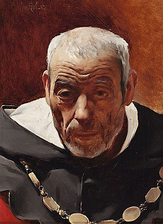 Josep Maria Tamburini Barcelona 1856 - 1932 Fraile dominico Óleo sobre tabla