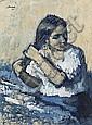 Francesc Serra Castellet Barcelona 1912 - Tossa de Mar 1976 Joven peinándose Dibujo a creta bistre sobre papel, Francesc Serra Castellet, Click for value