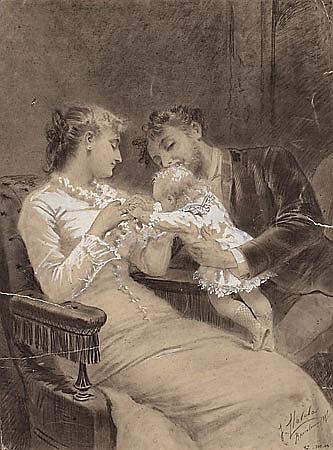 José Llovera Bofill Reus 1846 - 1896 Escena familiar Dibujo al carboncillo y gouache sobre papel
