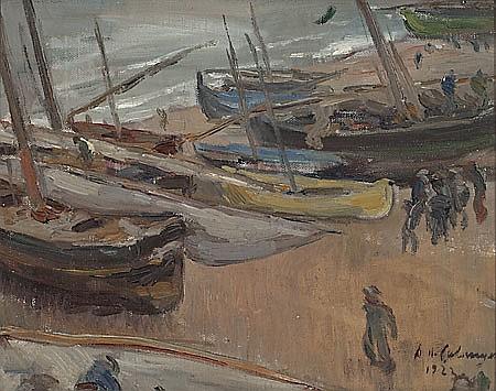 Alexandre de Cabanyes Vilanova i La Geltrú 1877 - 1972 Barcas en la playa Óleo sobre lienzo