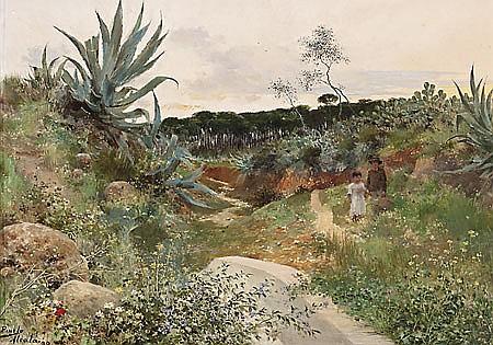 José Pinelo Llull Cádiz 1861 - Sevilla 1922 Paisaje de Alcalá de Guadaíra Óleo sobre tabla