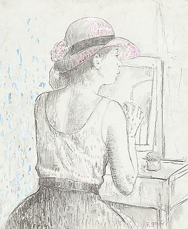 Francesc d'Assís Galí Barcelona 1880 - 1965 Joven ante un espejo Dibujo al carboncillo y gouache sobre cartón
