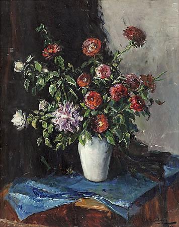 Domènec Carles Barcelona 1888 - Olot 1962 Floreros Tres óleos sobre lienzo