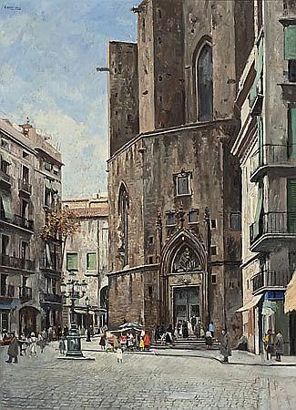 Ramon de Capmany Canet de Mar 1899 - 1992 La basílica de Santa María del Mar desde el Paseo del Born, Barcelona Óleo sobre lienzo