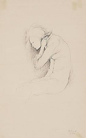 Montserrat Gudiol Barcelona 1933 Una joven Dibujo a tinta sobre papel