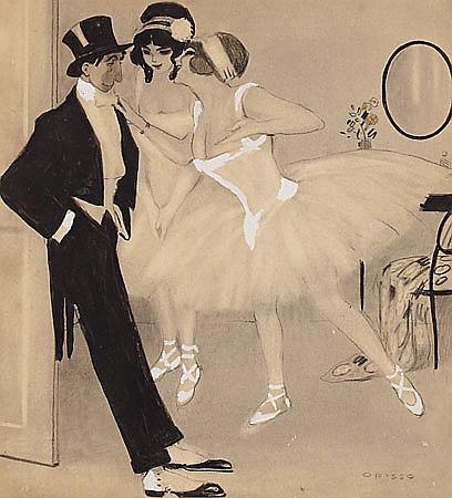 Ricard Opisso Tarragona 1880 - Barcelona 1966 Bailarinas Dibujo a tinta aguada y gouache sobre papel