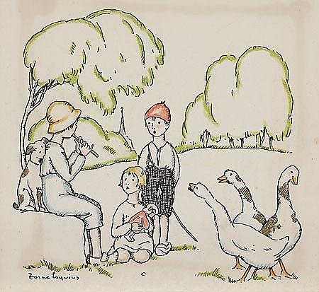 Pere Torné Esquius Barcelona 1879 - Flavancourt 1936 Tres niños Dibujo a tinta y pastel sobre papel