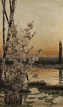 Mateo Balasch Barcelona 1870 - 1936 Lagunas Pontinas, Roma Óleo sobre lienzo