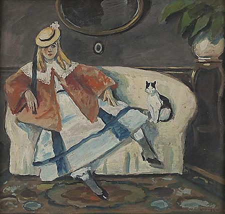 Ricard Opisso Tarragona 1880 - Barcelona 1966 Niña con gato Óleo sobre cartón