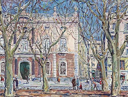 Josep Amat Pagès Barcelona 1901 - 1991 Pla de Palau, Barcelona Óleo sobre lienzo