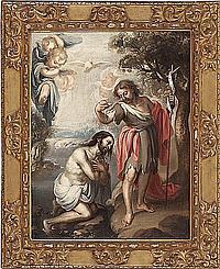 Juan de Valdés Leal Sevilla 1622 - 1690 El bautismo de Cristo en el Jordán Óleo sobre lienzo