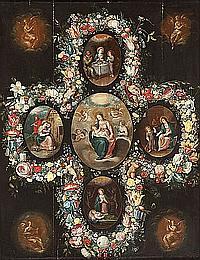 Cornelis de Baellieur (Amberes 1607-1671) o Frans Francken II (Amberes 1601-1678) y Andries Daniels (Amberes 1580-?) La Virgen con...
