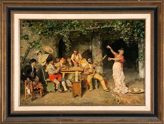 """José Villegas Cordero Sevilla 1848 - Madrid 1921 """"Fiesta de toreros en una venta"""""""