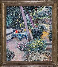 """Jordi Freixas Cortés Barcelona 1917 - 1984 """"Jardín malva"""" Óleo sobre lienzo"""