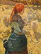 Alberto Pla Rubio Vilanova de Castelló 1867 - Barcelona 1929 Joven con rebaño Óleo sobre lienzo, Alberto Plá