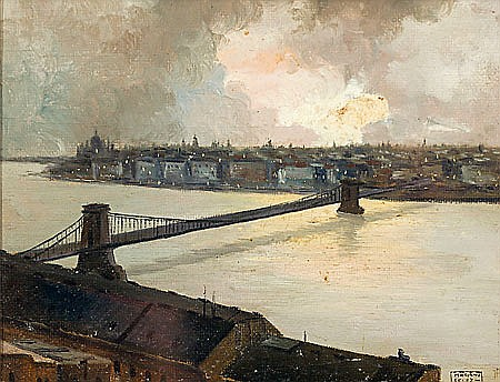 Mariano Félez Bentura Zaragoza 1883 - 1940 Dos vistas portuarias Óleo sobre lienzo y óleo sobre papel