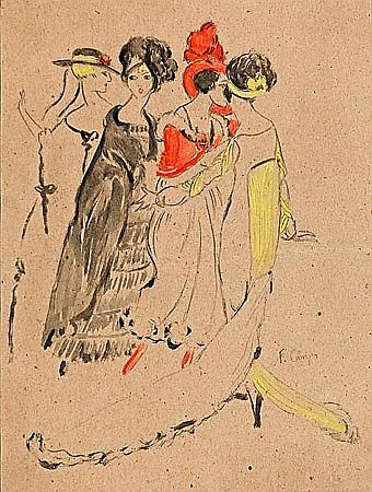 Francesc Camps Ribera Barcelona 1895 - 1991 Escenas parisinas Pareja de dibujos a lápiz y acuarela sobre papel