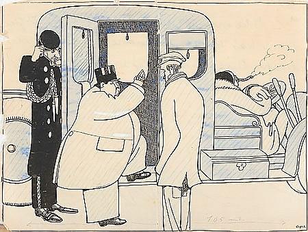 Feliu Elias Bracons Barcelona 1878 - 1948 Caricaturas Tres dibujos a tinta, acuarela y lápiz de color sobre papel