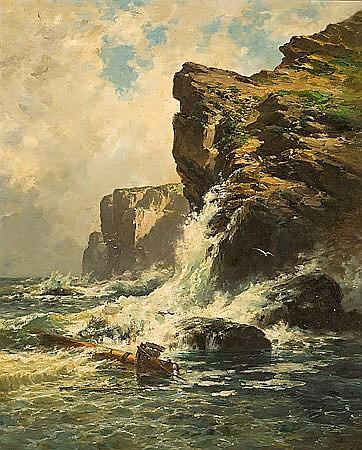 Carlos de Haes Bruselas 1826 - Madrid 1898 Acantilado Óleo sobre lienzo