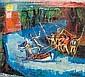 Ramón Aguilar Moré Barcelona 1924 Don Quijote y Sancho en la aventura del barco encantado Acrílico sobre cartón, Ramón Aguilar Moré, Click for value