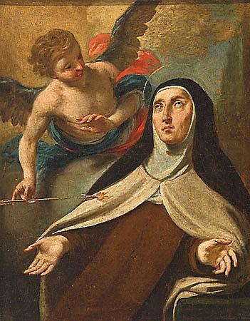 Antoni Viladomat i Manalt Barcelona 1678 - 1755 La transverberación de Santa Teresa de Jesús Óleo sobre lienzo