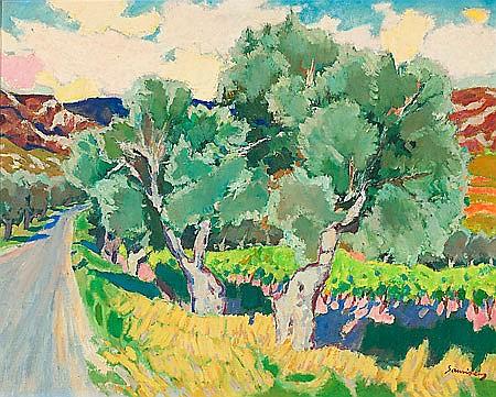 Ramon Sanvicens Barcelona 1917 - 1987 Paisaje Óleo sobre lienzo