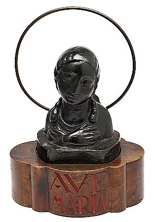 "Fidel Aguilar. Girona 1894-1917. ""Ave María"". ""Argerata de Quart"" ceramic sculture. Carved wood original stand. Titled in the stand. In"